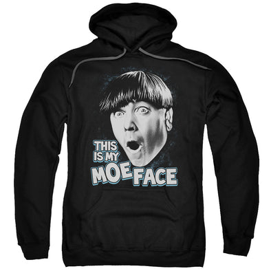THREE STOOGES/MOE FACE-ADULT PULL-OVER HOODIE-BLACK