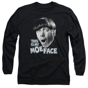 Three Stooges/Moe Face - L/S Adult 18/1 - Black
