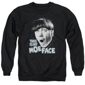 Three Stooges/Moe Face - Adult Crewneck Sweatshirt - Black