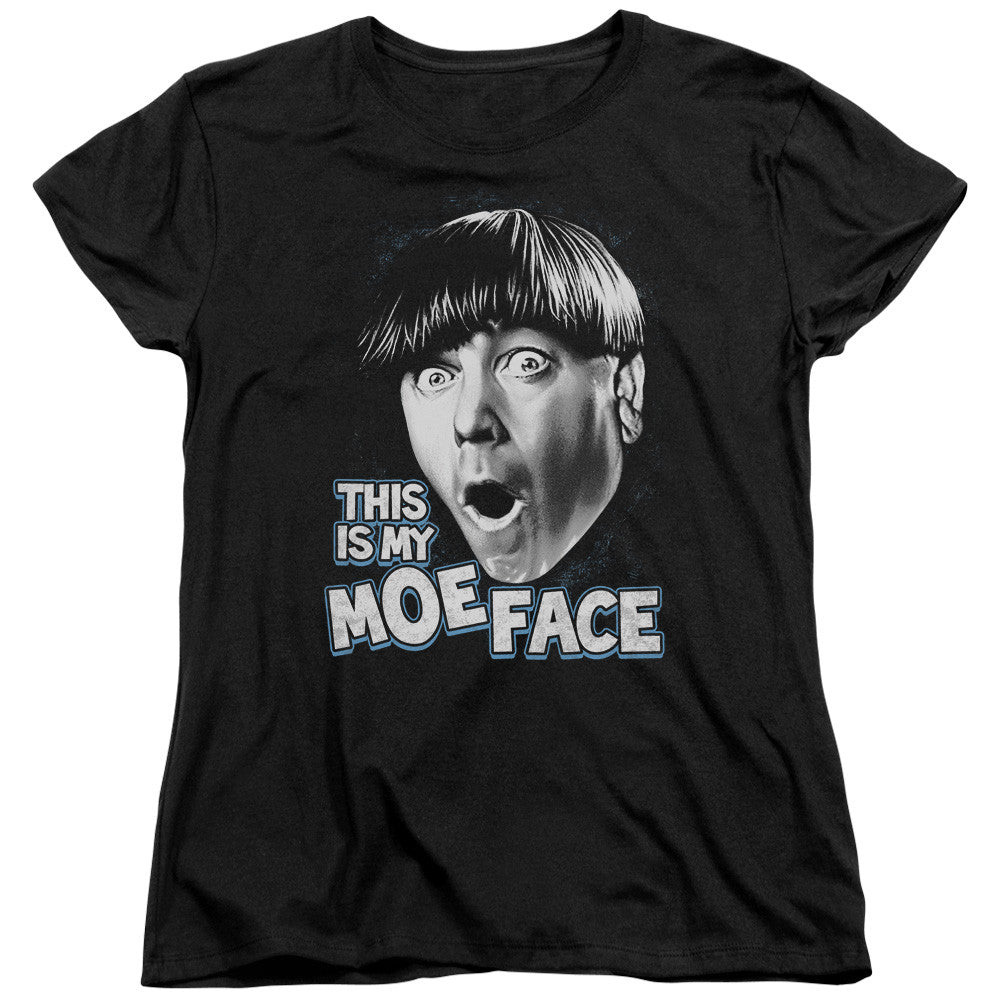 THREE STOOGES/MOE FACE - S/S WOMEN'S TEE - BLACK