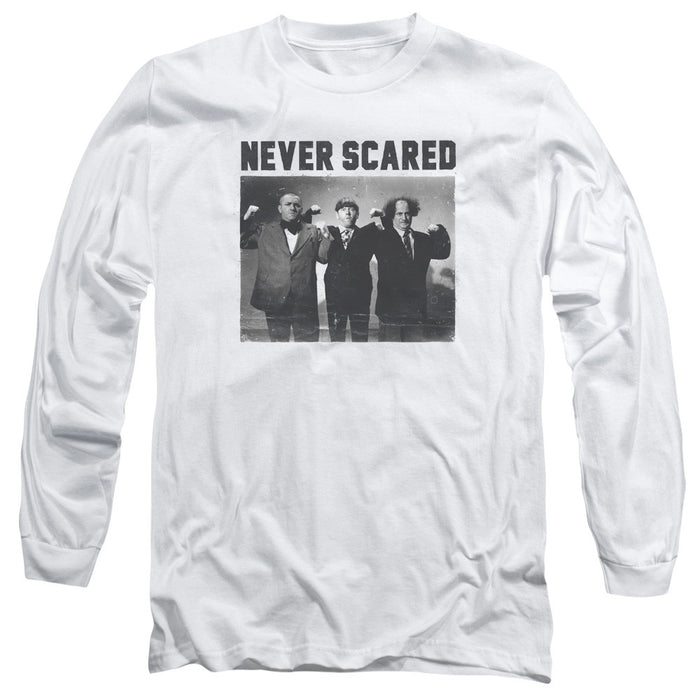 Three Stooges/Never Scared - L/S Adult 18/1 - White