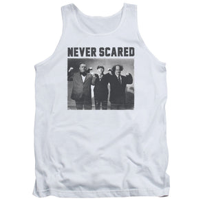 Three Stooges/Never Scared-Adult Tank-White