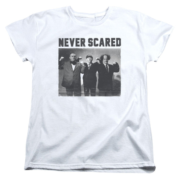 THREE STOOGES/NEVER SCARED - S/S WOMEN'S TEE - WHITE