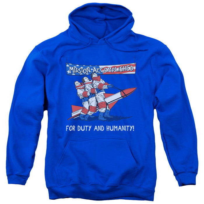 Three Stooges/Mission Accomplished-Adult Pull-Over Hoodie-Royal Blue