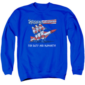 THREE STOOGES/MISSION ACCOMPLISHED - ADULT CREWNECK SWEATSHIRT - ROYAL BLUE