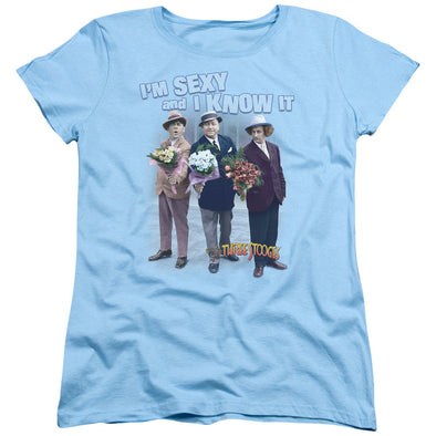 Three Stooges/Sexy - S/S Women'S Tee - Light Blue