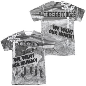 THREE STOOGES/TUNIS 1500 (FRONT/BACK PRINT) -  S/S ADULT 100% POLY CREW - WHITE- Allow 7 business day processing time before available to ship