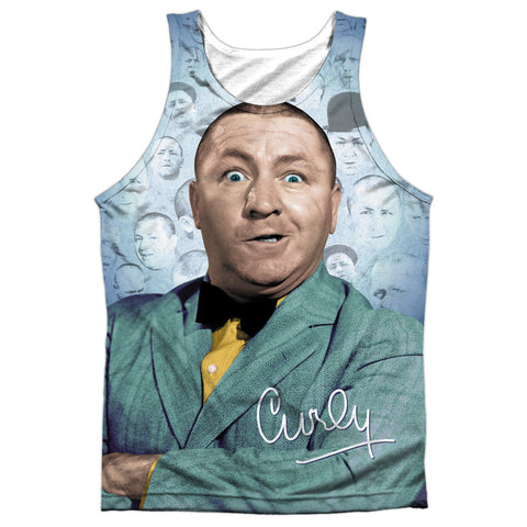 THREE STOOGES/CURLY HEADS-ADULT 100% POLY TANK TOP-WHITE TTS167-TKPP-1