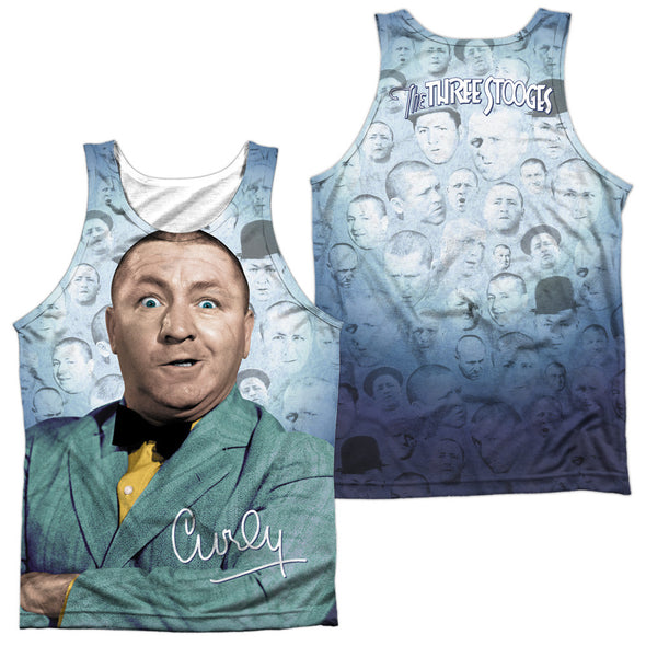 THREE STOOGES/CURLY HEADS-ADULT 100% POLY TANK TOP-WHITE TTS167FB-TKPP-1 - Allow 7 business day processing time before available to ship