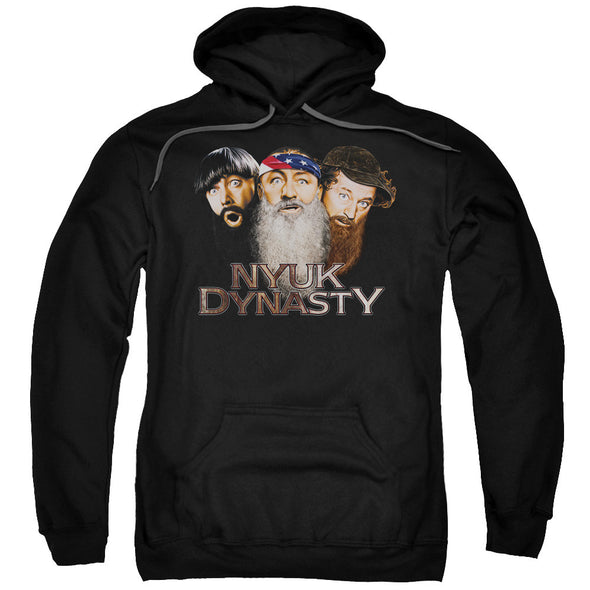 Three Stooges/Nyuk Dynasty 2-Adult Pull-Over Hoodie-Black
