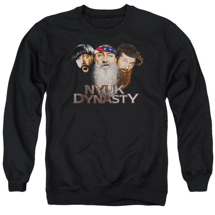 Three Stooges Nyuk Dynasty  - Adult Crewneck Sweatshirt - Black