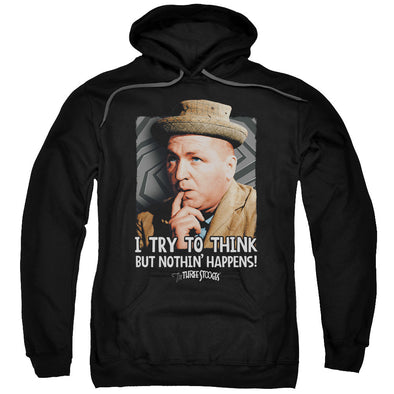 THREE STOOGES/TRY TO THINK-ADULT PULL-OVER HOODIE-BLACK