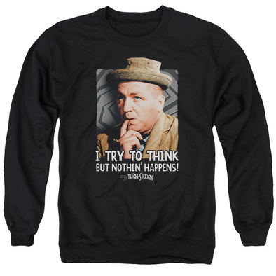 THREE STOOGES/TRY TO THINK - ADULT CREWNECK SWEATSHIRT - BLACK