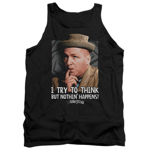 Three Stooges/Try To Think-Adult Tank-Black