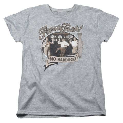 THREE STOOGES/FRESH FISH-S/S WOMEN'S TEE-ATHLETIC HEATHER