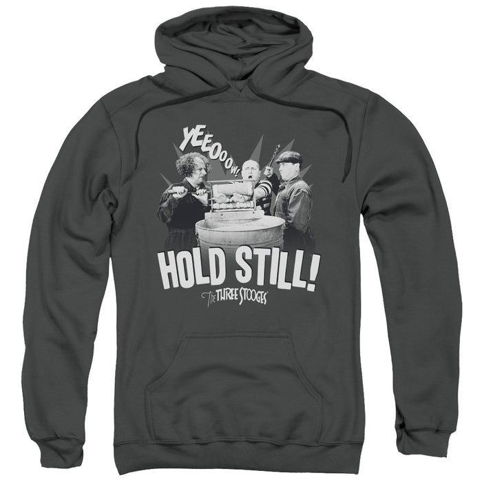 Three Stooges/Hold Still-Adult Pull-Over Hoodie-Charcoal