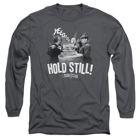 THREE STOOGES/HOLD STILL-L/S ADULT 18/1-CHARCOAL