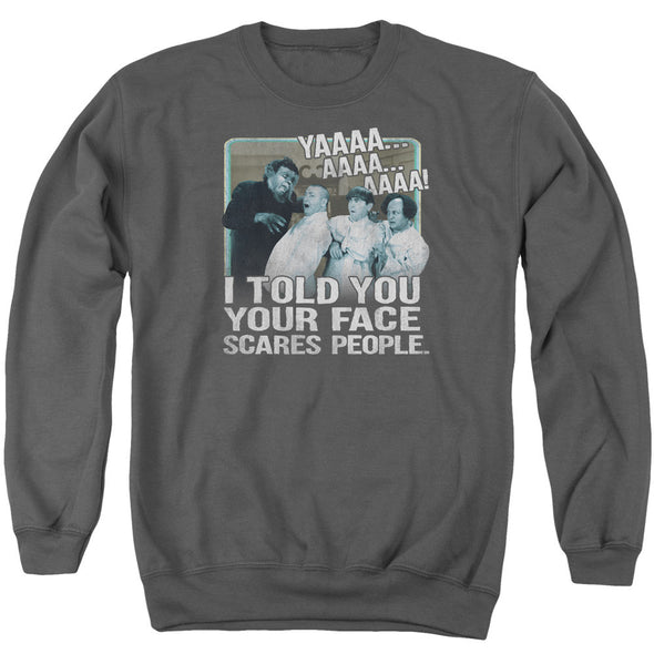 THREE STOOGES/SCARES PEOPLE - ADULT CREWNECK SWEATSHIRT - CHARCOAL