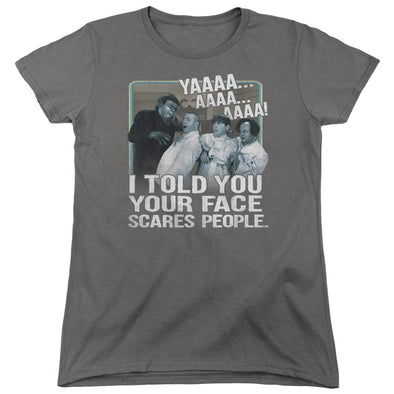 THREE STOOGES/SCARES PEOPLE - WOMEN'S SHORT SLEEVE  - CHARCOAL