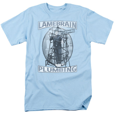 THREE STOOGES/LAMEBRAIN PLUMBING-S/S ADULT 18/1-LIGHT BLUE