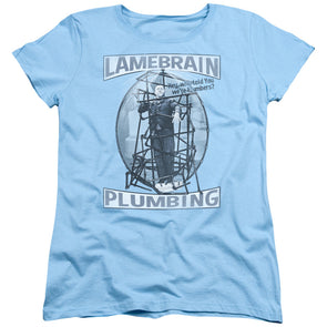 THREE STOOGES/LAMEBRAIN PLUMBING-S/S Women's TEE-LIGHT BLUE