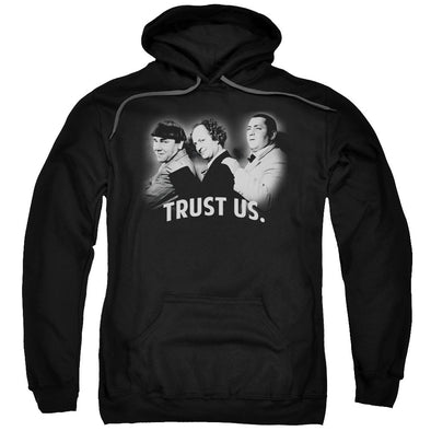 THREE STOOGES/TRUST US-ADULT PULL-OVER HOODIE-BLACK