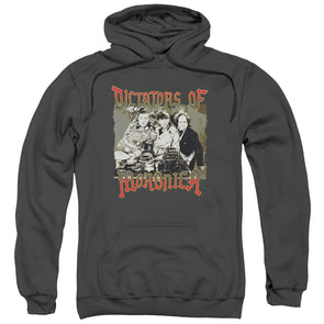 THREE STOOGES/MORONICA-ADULT PULL-OVER HOODIE-CHARCOAL