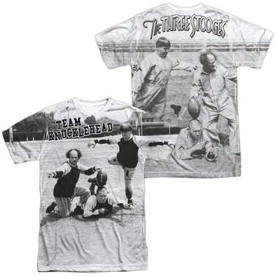 THREE STOOGES/TEAM KNUCKLEHEAD (FRONT/BACK PRINT)-S/S ADULT POLY CREW-WHITE