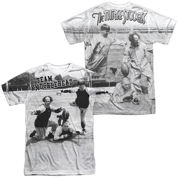 THREE STOOGES/TEAM KNUCKLEHEAD (FRONT/BACK PRINT)-S/S ADULT POLY CREW-WHITE - Allow 7 business day processing time before available to ship