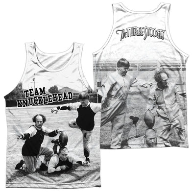 Three Stooges/Team Knucklehead (Front/Back Print)-Adult 100% Poly Tank Top-White - Allow 7 Business Day Processing Time Before Available To Ship