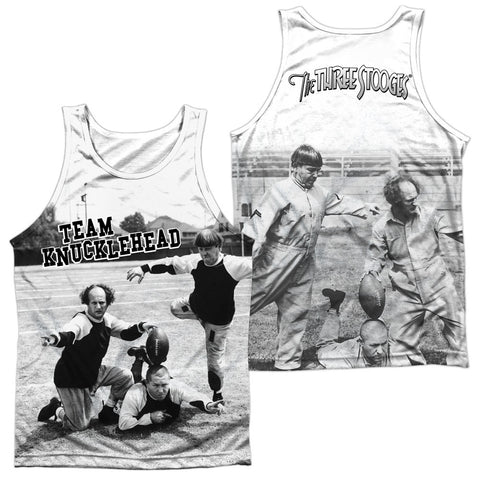 THREE STOOGES/TEAM KNUCKLEHEAD (FRONT/BACK PRINT)-ADULT 100% POLY TANK TOP-WHITE - Allow 7 Business Day Processing Time