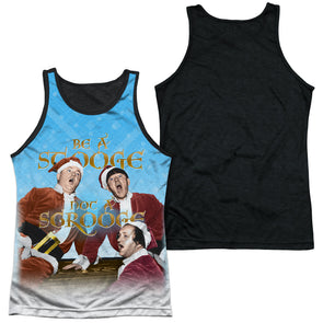 THREE STOOGES/BE A STOOGE-ADULT POLY TANK TOP BLACK BACK-WHITE - Allow 7 business day processing time before available to ship