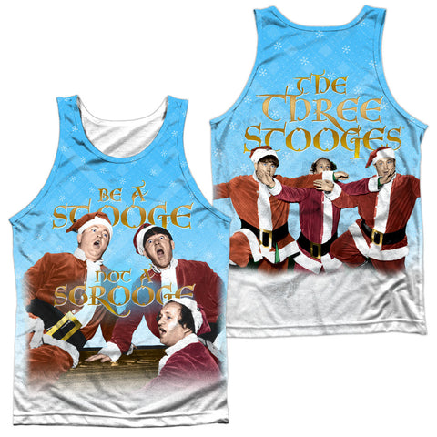 THREE STOOGES/BE A STOOGE (FRONT/BACK PRINT)-ADULT 100% POLY TANK TOP-WHITE - UP TO 7 BUSINESS DAY PROCESSING TIME