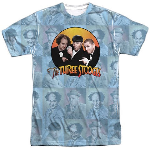 THREE STOOGES/PORTRAITS-S/S ADULT POLY CREW-WHITE TTS196-ATPP-1