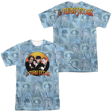 THREE STOOGES/PORTRAITS (FRONT/BACK PRINT)-S/S ADULT POLY CREW-WHITE TTS196FB-ATPP-1 - Allow 7 business day processing time before available to ship