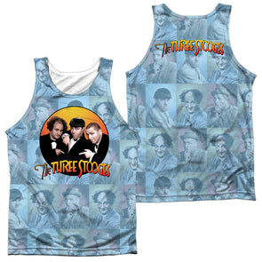 THREE STOOGES/PORTRAITS (FRONT/BACK PRINT)-ADULT 100% POLY TANK TOP-WHITE TTS196FB-TKPP-1 - Allow 7 business day processing time before available to ship