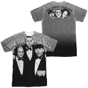 THREE STOOGES/CLASSY FELLAS (FRONT/BACK PRINT)-S/S ADULT POLY CREW-WHITE TTS197FB-ATPP-1 - Allow 7 business day processing time before available to ship