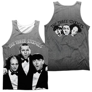 Three Stooges/Classy Fellas (Front/Back Print)-Adult 100% Poly Tank Top-White Tts197Fb-Tkpp-1 - Allow 7 Business Day Processing Time Before Available To Ship