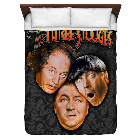 The Three Stooges Duvet Cover: Stooges All Over - Queen Size 88x88
