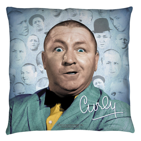 The Three Stooges Throw Pillow: Curly Heads - 18x18 - Allow 7 business days for processing time before ready to ship