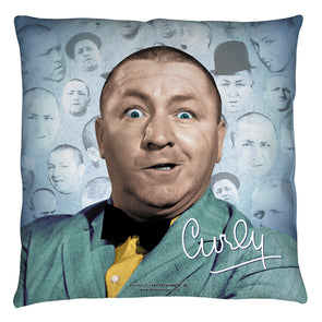 The Three Stooges Throw Pillow: Curly Heads - 26x26 - Allow 7 business days for processing time before ready to ship