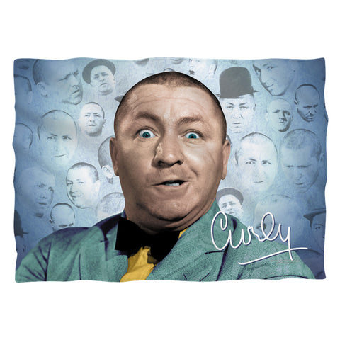 The Three Stooges Pillow Case: Curly Heads Front/Back Print - 20x28 - One Size