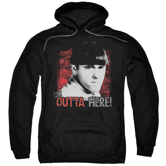 THREE STOOGES/GET OUTTA HERE-ADULT PULL-OVER HOODIE-BLACK