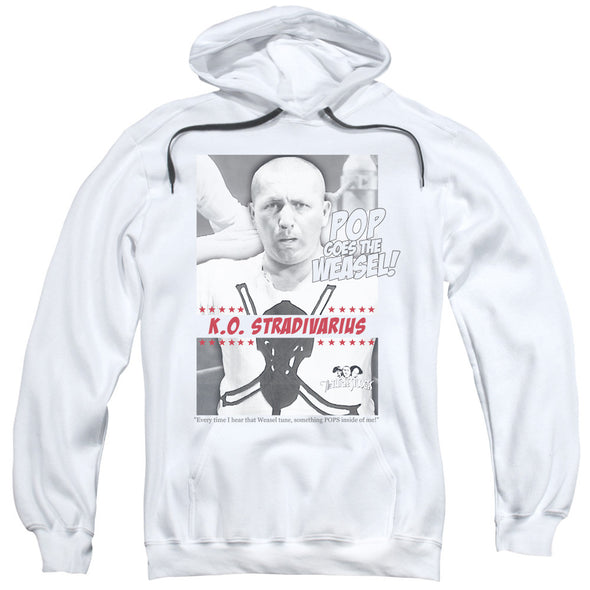 THREE STOOGES/WEASEL-ADULT PULL-OVER HOODIE-WHITE