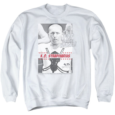 THREE STOOGES/WEASEL - ADULT CREWNECK SWEATSHIRT - WHITE