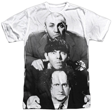THREE STOOGES/THREE STACKED-S/S ADULT POLY CREW-WHITE TTS205-ATPP-1 - Allow 7 business day processing time before available to ship