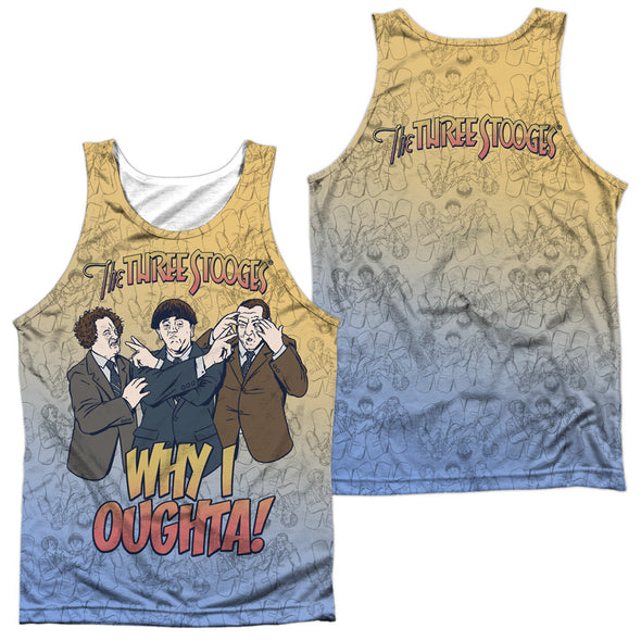 THREE STOOGES/WHY I OUGHTA (FRONT/BACK PRINT)-ADULT 100% POLY TANK TOP-WHITE TTS207FB-TKPP-1 - Allow 7 business day processing time before available to ship