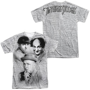 THREE STOOGES/SIGNATURE (FRONT/BACK PRINT)-S/S ADULT POLY CREW-WHITE TTS208FB-ATPP-1 - Allow 7 business day processing time before available to ship