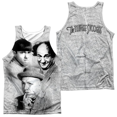 THREE STOOGES/SIGNATURE (FRONT/BACK PRINT)-ADULT 100% POLY TANK TOP-WHITE TTS208FB-TKPP-1 - Allow 7 business day processing time before available to ship