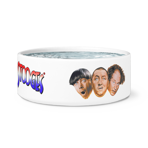 Three Stooges Ceramic Dog Bowl - FREE SHIPPING!